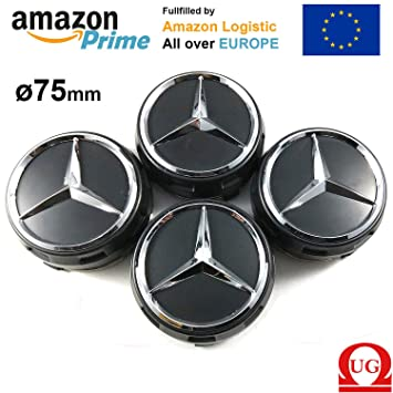 UG 4 x Tapones Tapacubos capazo para Mercedes 75 mm, Color Negro, Clase A B C