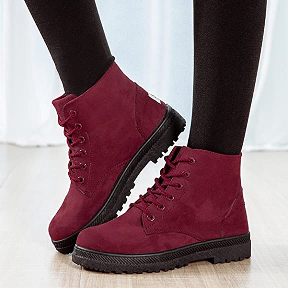 Amazon.com | gracosy Casual Boots for Women, Suede Lace Up Ankle Casual Booties Snow Boot Winter Warm Shoes | Snow Boots