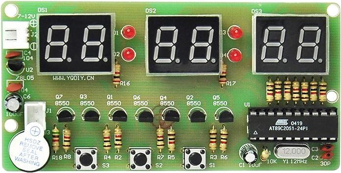 Gikfun 6 Bits Digital LED Electronic Clock DIY Kits PCB Soldering Practice Learning Board AT89C2051 FR-4 for Arduino EK1323