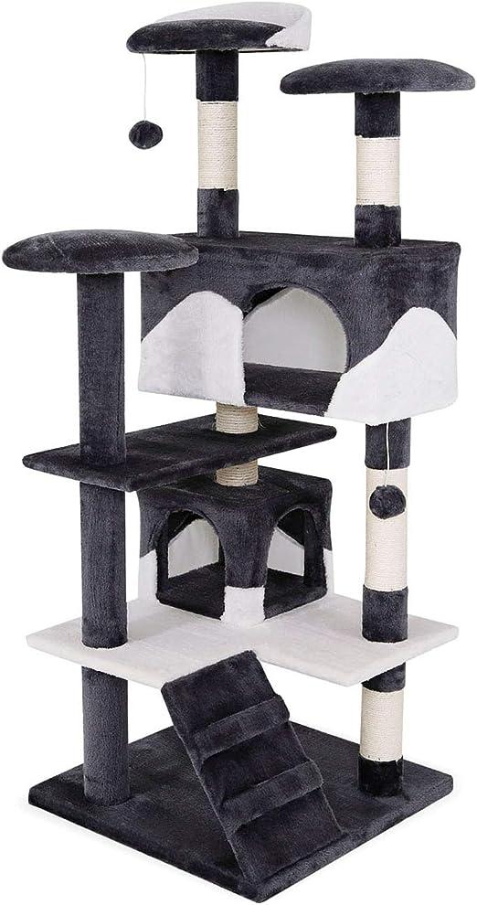 dibea Árbol rascador para Gatos, 130 cm (Gris-Blanco): Amazon.es: Productos para mascotas