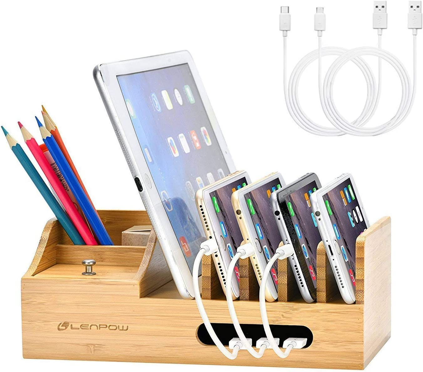 LENPOW Bamboo Charging Station Dock Desktop Docking Station Multi Devices Cords Cable Organizer for iPhone11 Pro Max XS XR X Max Samsung S10+ Google Pixel LG iPad, Charger Not Included