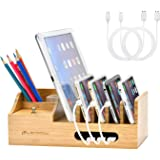 LENPOW Bamboo Charging Station Dock Desktop Docking Station Multi Devices Cords Cable Organizer for iPhone11 Pro Max XS…