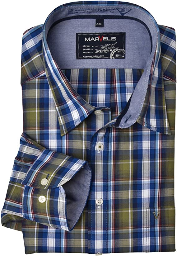 Marvelis Camisa Manga Larga Easy-Care Azul Oliva Blanco a ...
