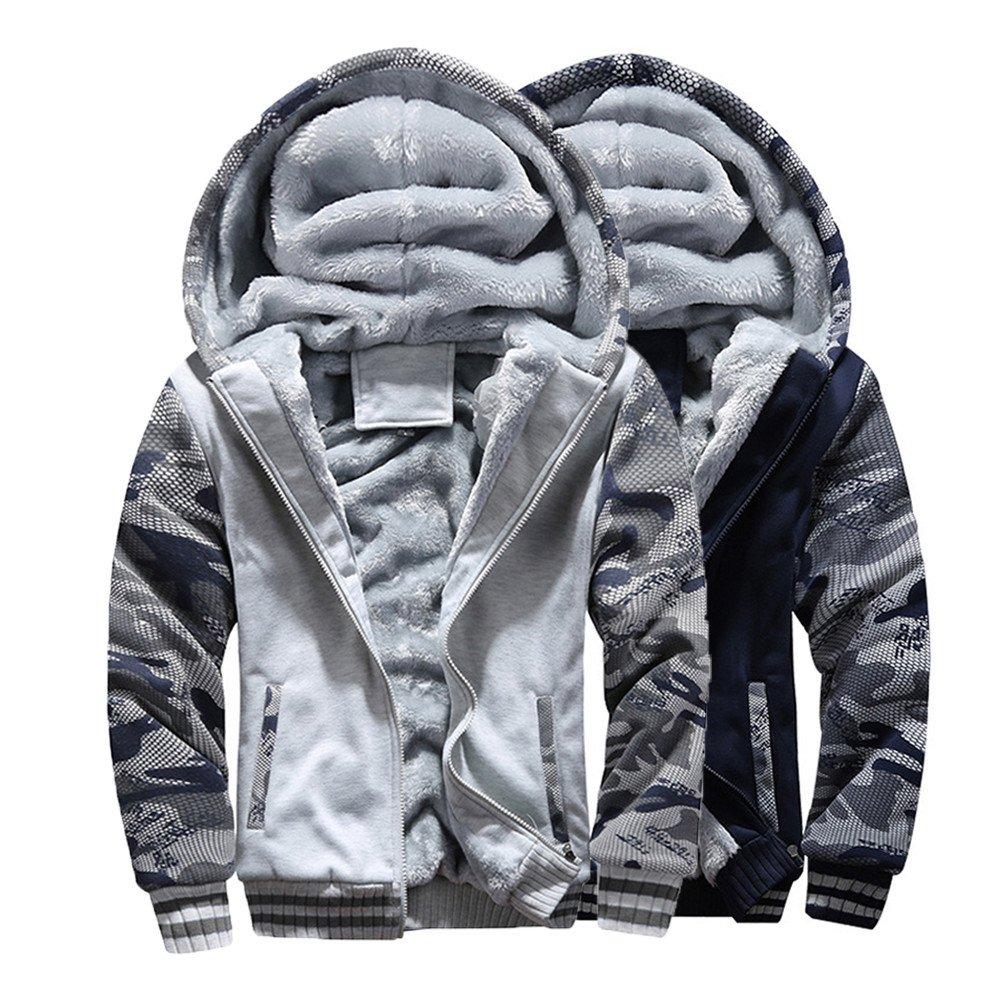 Colmkley Mens Winter Plus Velvet Camouflage Sport Slim Fit Hooded Jacket Outwear