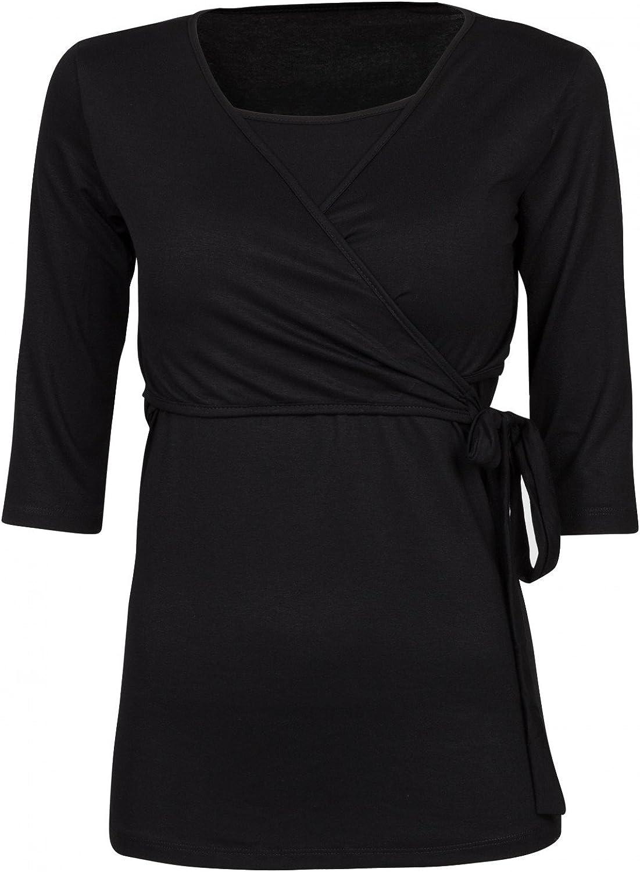 458p Womens Maternity Nursing 2in1 Bolero Top Shirt 3//4 Sleeve Happy Mama