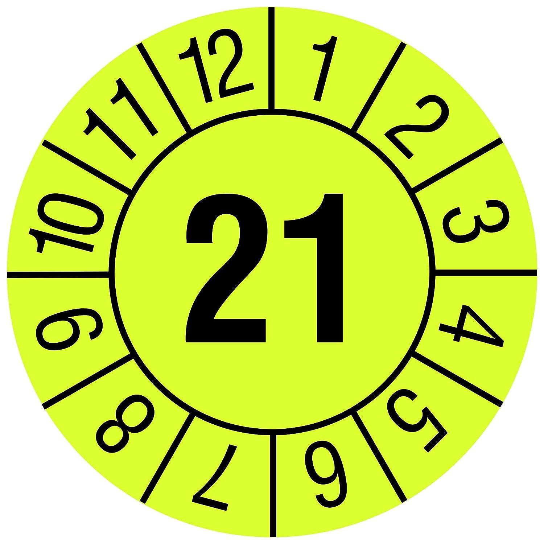 Labelident Prüfplaketten - Monate - Jahreszahl (JJ), Jahresprüfplakette, Zeitraum 2021, Ø 20 mm, 1000 Stück, Papier leuchtgelb, Aufdruck schwarz