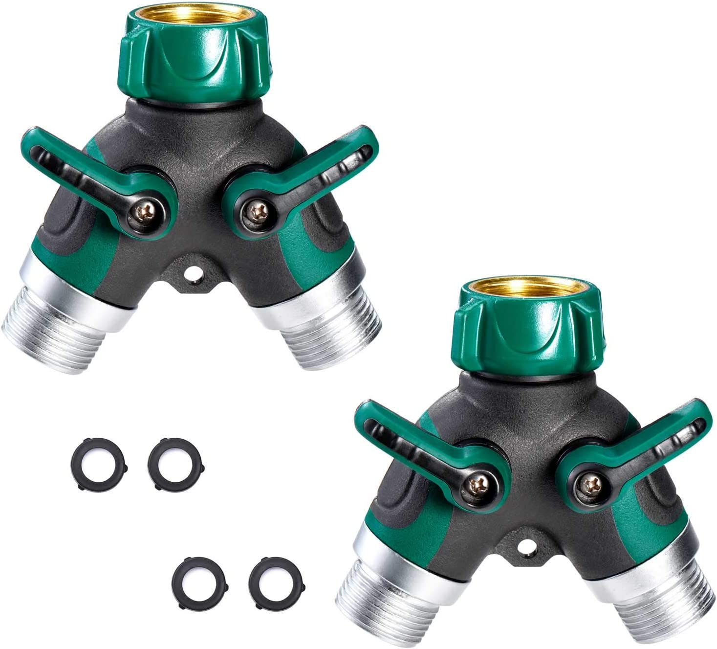 """Delxo Metal Body Hose Splitter,2 Pack,2 Way Water Hose Y Hose Sturdy Connector with 3/4"""" Connector and Rubberized Grip for Garden and Home Life (4 Free Washers)"""