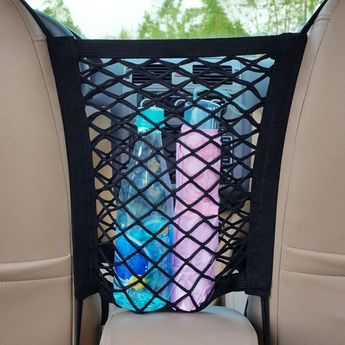 Borsa da viaggio a rete con rete elastica universale da auto//tra tasca portadocumenti organizer per auto con 4 ganci in plastica