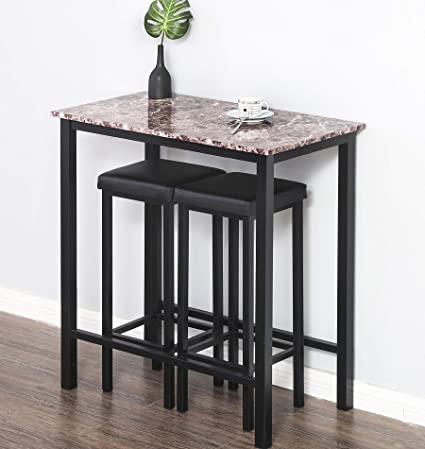 Black Wooden 3 Piece Kitchen Breakfast Set Dining Bistro Table 2 Stools Pub Bar