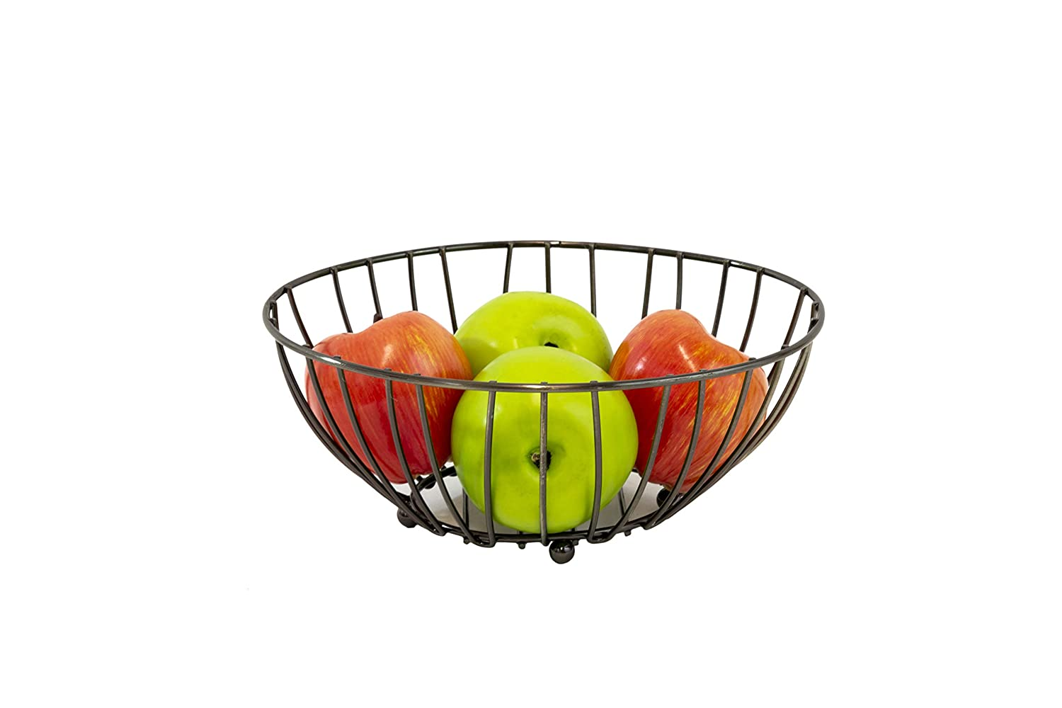Mesa Twiggy Collection Round Fruit Basket, Metallic Silver ME9140