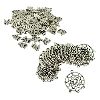 120PCS Feather Connector Charms /& Dreamcatcher Charms For Necklace Pendant
