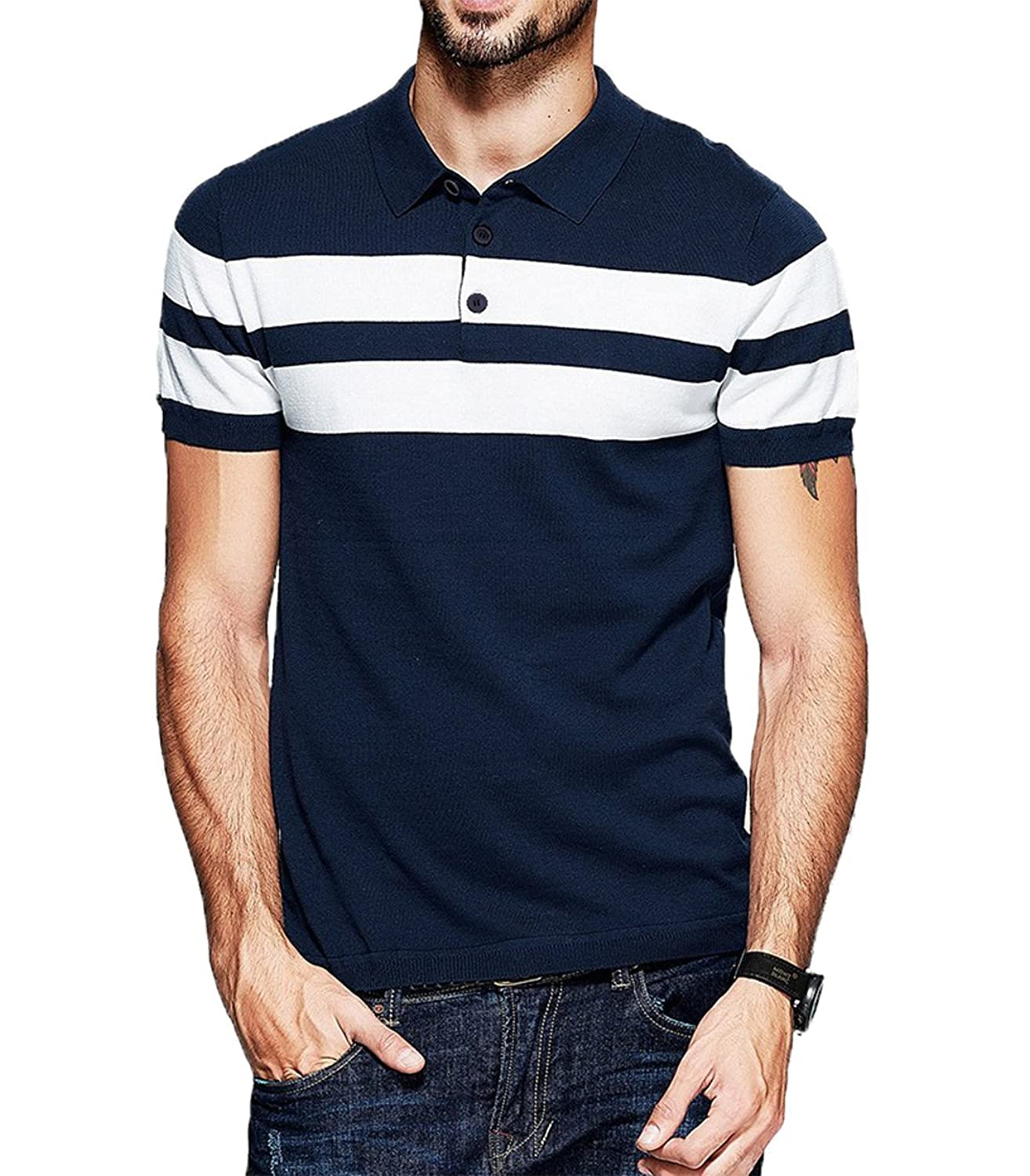f03239b0c8 fanideaz Men's Cotton Half Sleeve Navy Blue Striped Polo T Shirts for Men