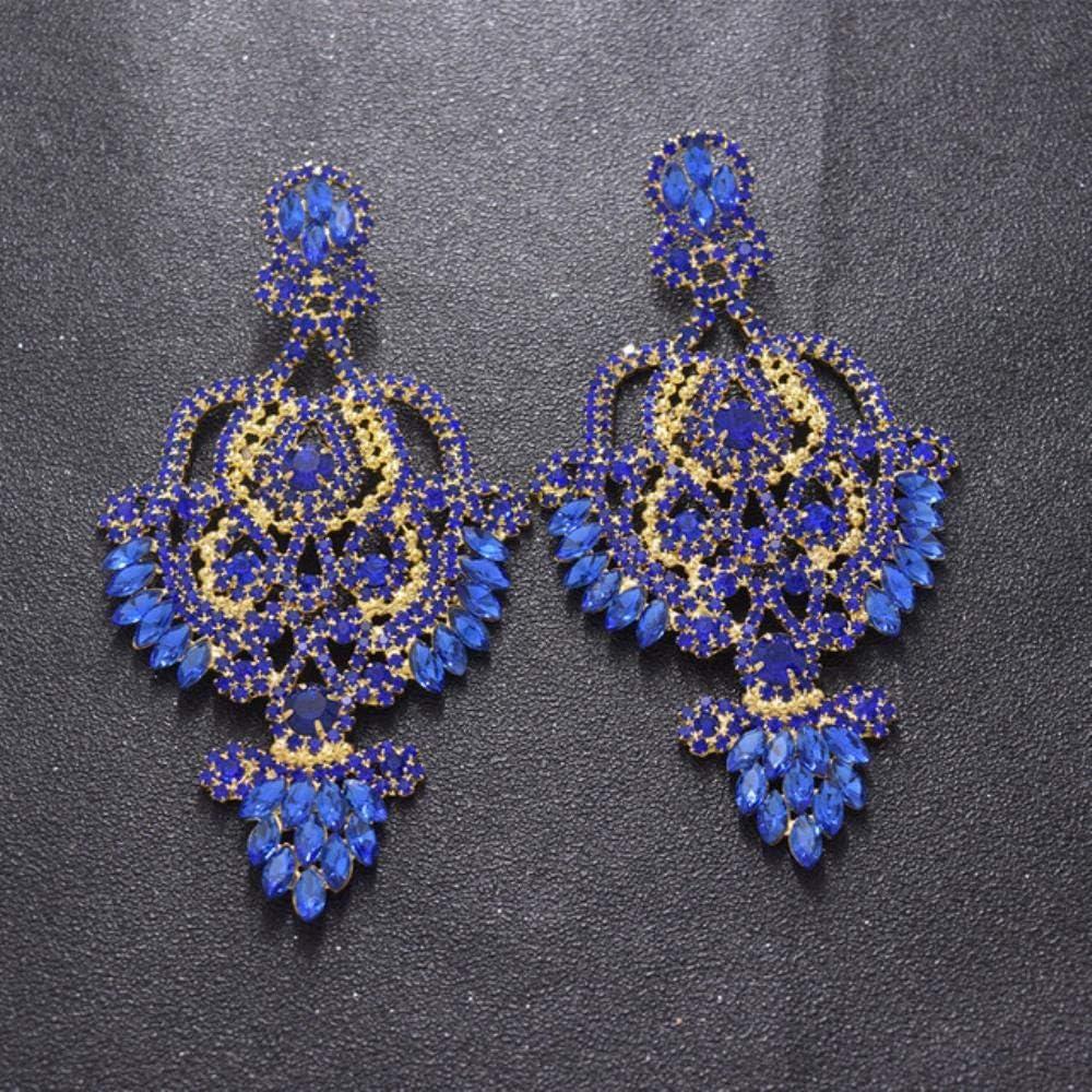 YDY 12 cm de Gran tamaño para Mujer, Pendiente Largo, joyería, Diamantes de imitación, Accesorios de Cristal para Novia, Pendientes de Gota de Oro, Boda exagerada, Zafiro