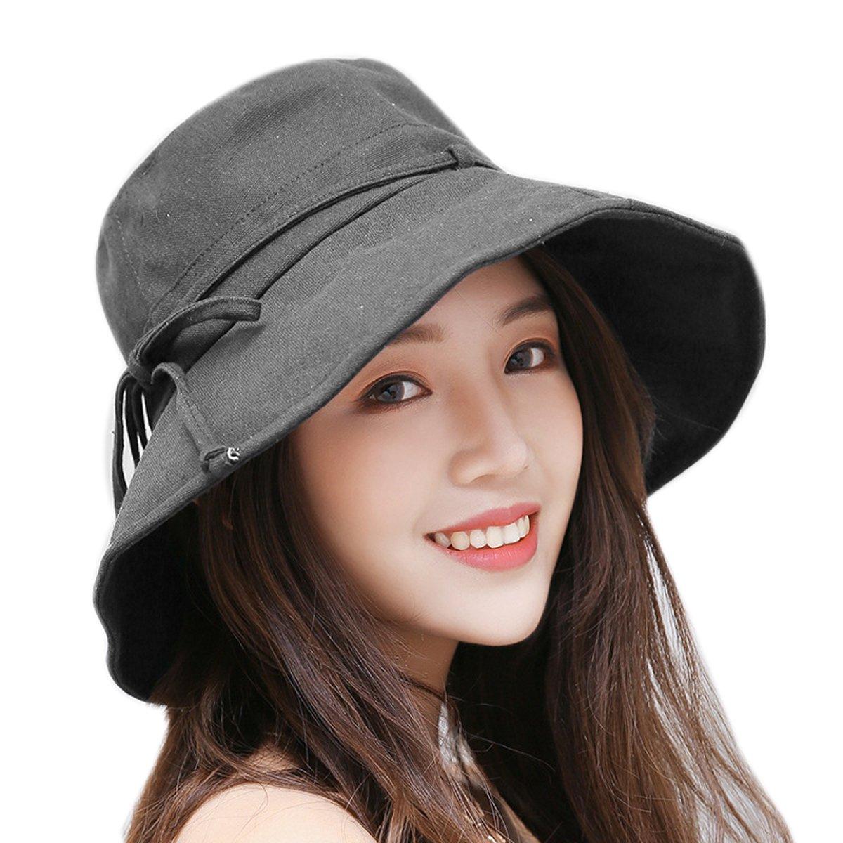 HAPEE Cappello da Sole Donne delle Ragazze Spiaggia di Modo Anti-UV Decorazione Arco Tesa Larga Cappello di Paglia del Sole