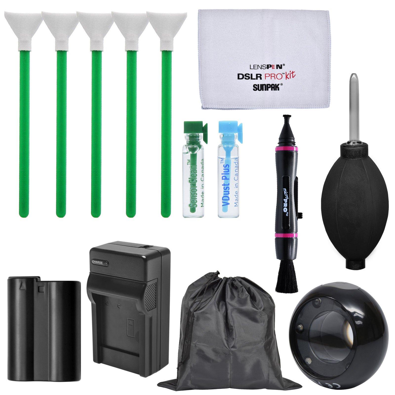Essential Bundle Sensor Cleaning Kit with EN-EL15 Battery & Charger + LED Loupe Bundle for Nikon D610, D750, D800, D810, D850 DSLR Cameras