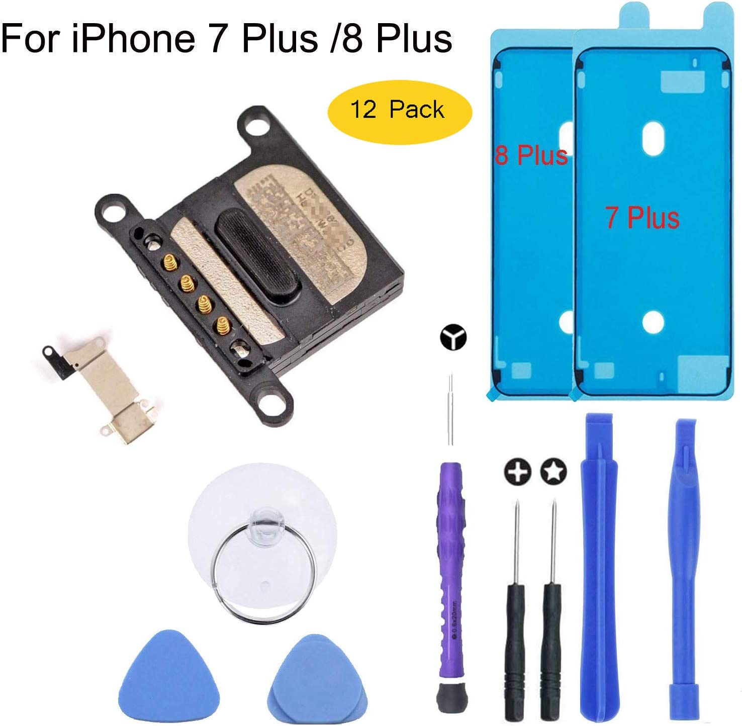 Earpiece Ear Speaker Replacement for iPhone 7 Plus,iPhone 8 Plus with Earpiece Metal Bracket and Tools and Screen Adhesive