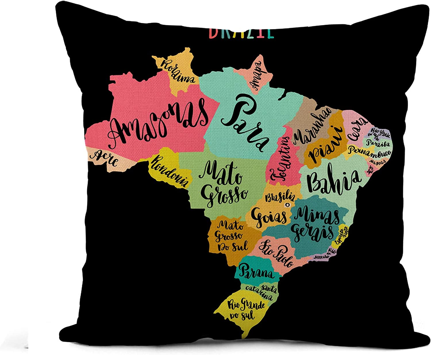 Awowee Flax Throw Pillow Cover Brazil Map States Modern Regions Names Travel for Home 20x20 Inches Pillowcase Home Decor Square Cotton Linen Pillow Case Cushion Cover