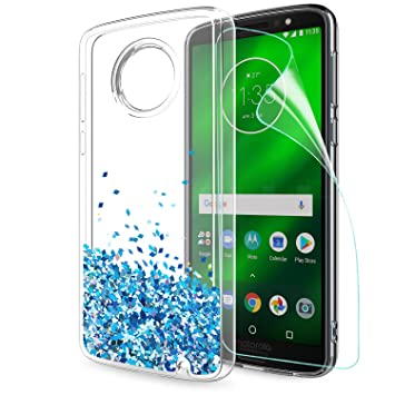 Funda Motorola Moto G6 PLUS 2018 Purpurina Carcasa con HD Protectores de Pantalla, LeYi Mujer Brillante Liquida Ballistic Cristal Arenas Movedizas ...
