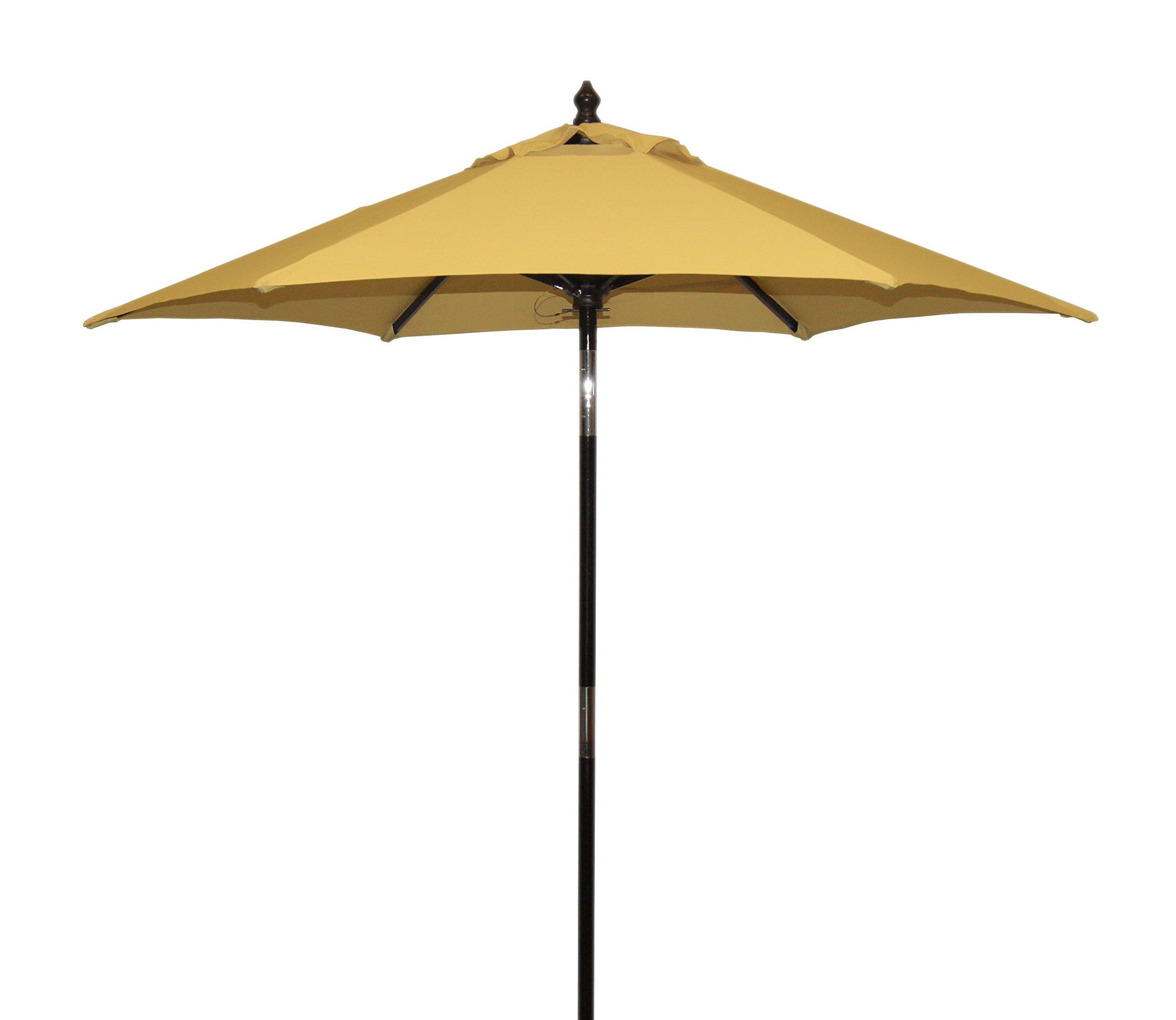"MJJ Sales, 6.5ft Wood Tilt - Yellow - 7 oz Polyester - 9 Colors Available Approx. 1 3/8"" Pole Diameter 6 Dark Cherry Wood Ribs - shades-parasols, patio-furniture, patio - 710pZ6f u9L -"
