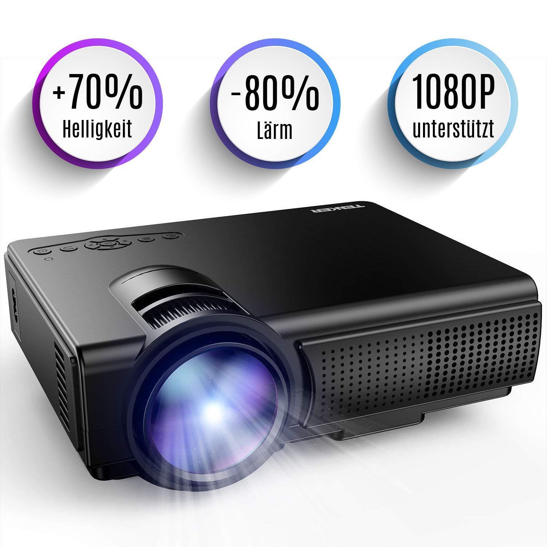 Proiettore, Mini proiettore video TENKER Q5 + 20% Lumens Supporto proiettore portatile Full HD 1080P LED HDMI TF USB VGA AV per iPhone Smartphone per smartphone TV Xbox PC, bianco [Classe energetica A +++] [Classe di efficienza energetica A+++]