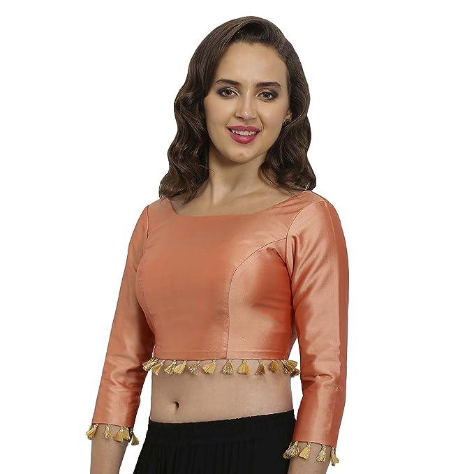 541e401da85a0b JustB Peach Polysilk Round Neck Readymade Blouse  Amazon.in  Clothing    Accessories