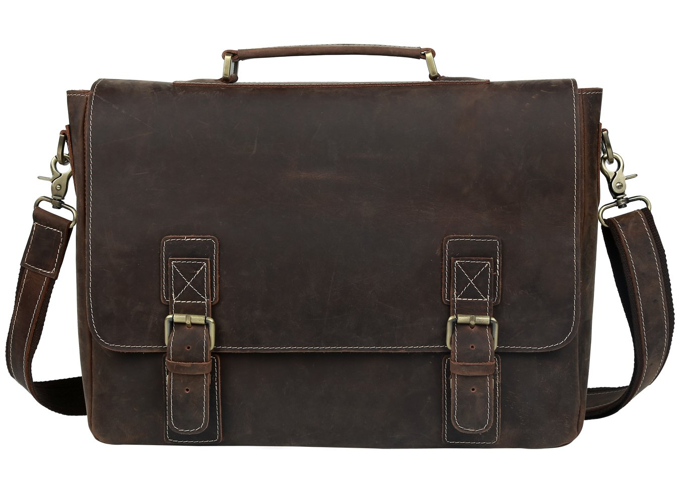 BAIGIO Laptop Messenger Shoulder Bag Tote for Men Real Leather Satchel Briefcase up to 16 Inch, Dark Brown 540910