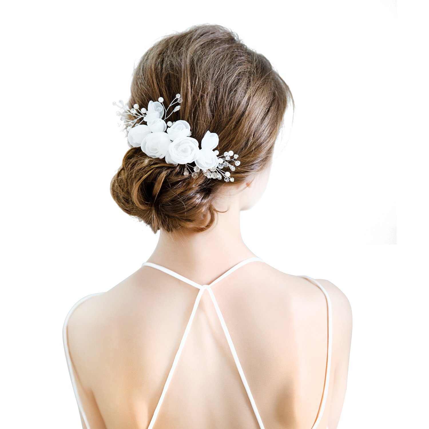 Amazon 70ily White Rose Bridal Flower Wedding Hair Comb Clip