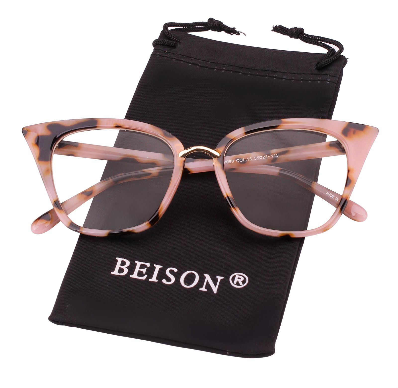 Beison Womens Cat Eye Mod Fashion Eyeglasses Frame Clear Lens by Beison