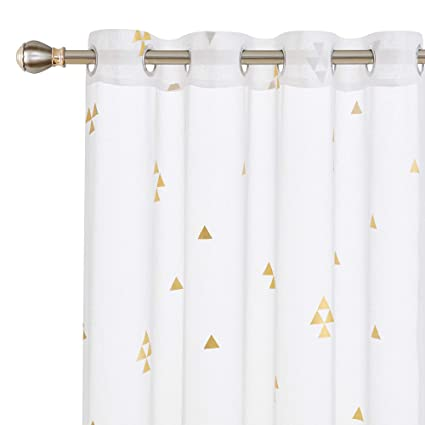 Amazoncom Deconovo Decorative Sheer Curtain White With 8 Grommet