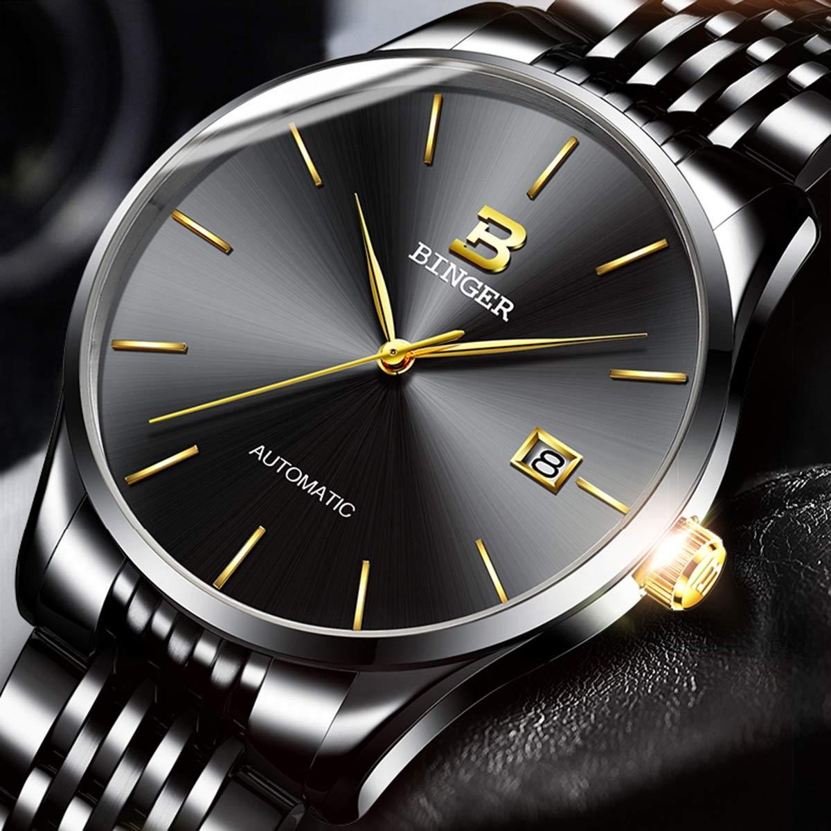 BINGER mäns automatiska mekaniska klocka rostfritt stål män multifunktionell sport man armbandsur colorC