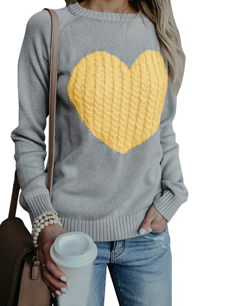 Valphsio Women's Cute Cable Knitted Pullover Sweaters Crewneck Heart Patchwork Jumpers Tops