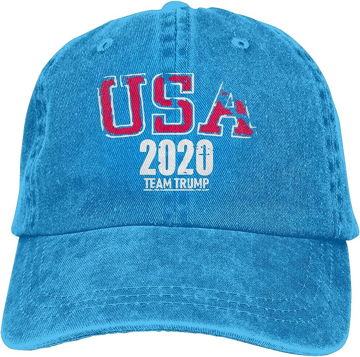 TBVS 77 Men Women Adjustable Denim Fabric Baseball Cap USA 2020 Team Trump Headwear