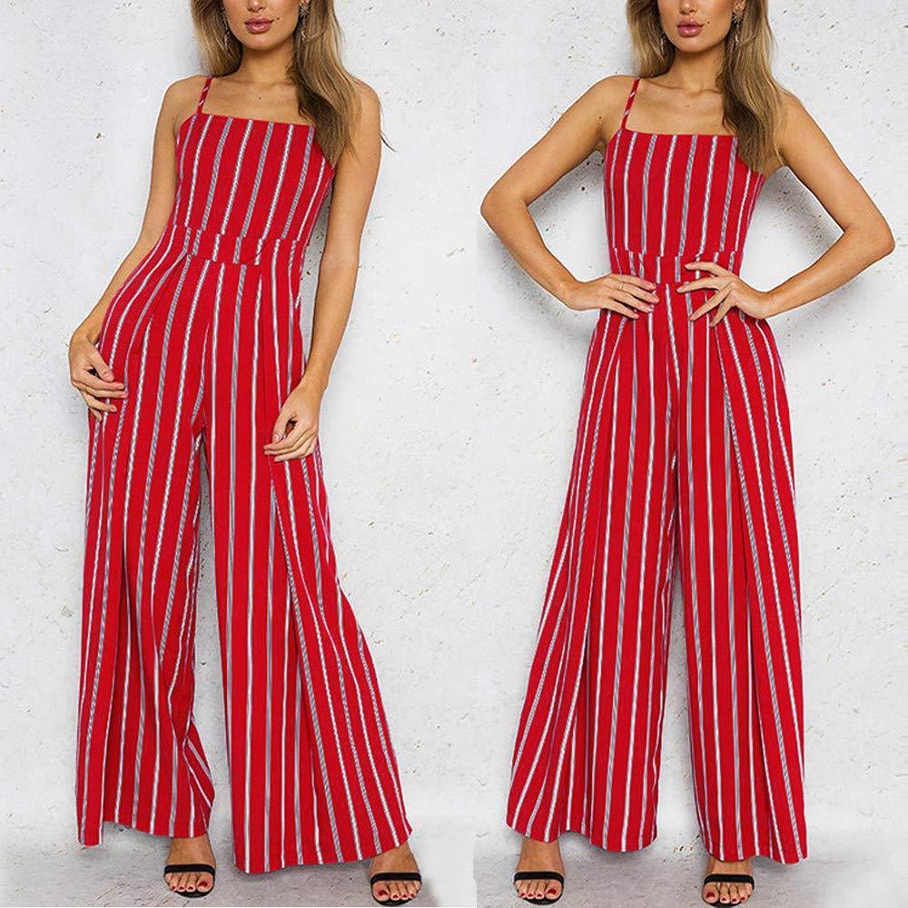 033abfb1 Amazon.com: Orangeskycn Women Jumpsuits Elegant Wide Leg Sleeveless Striped  Long Pants: Clothing