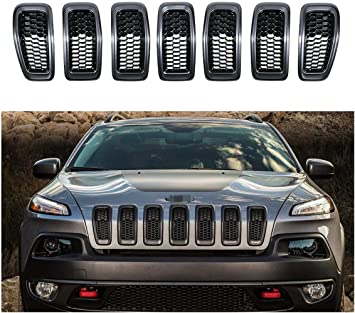 NO7RUBAN Front Grill Inserts Fits Grand Cherokee 2017-2019 7pcs Honeycomb Matte Mesh Cover Accessories