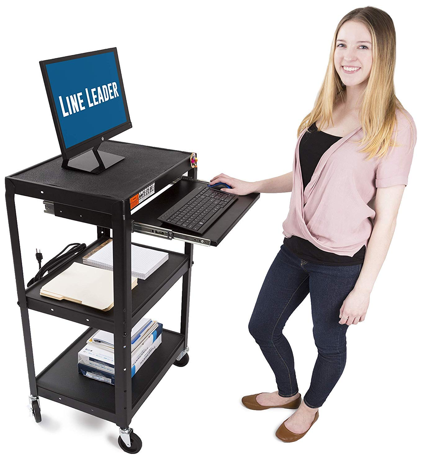 Line Leader AV Cart on Wheels - Includes Three Height Adjustable Shelves and Pullout Keyboard Tray - 15 ft Power Cord with Cord Management Included - Easy to Assemble (42 x 24 x 18 / Black) by Stand Steady