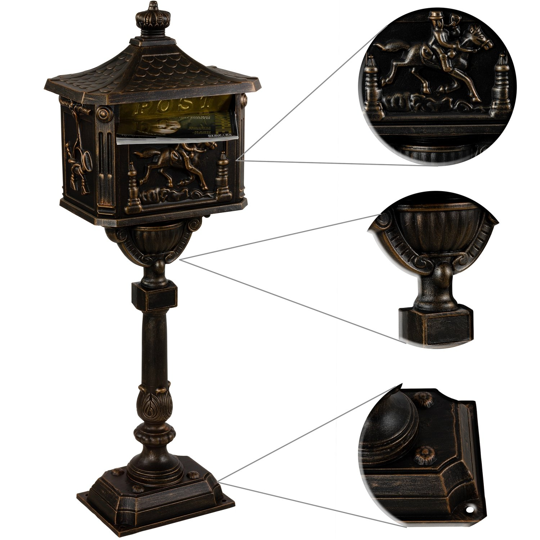 Maxstore Antiker Standbriefkasten aus rostfreiem Aluminium Briefkasten Postkasten gro/ß antik H/öhe 111 cm detailreiche Verzierungen 4 Farbvarianten Bronze