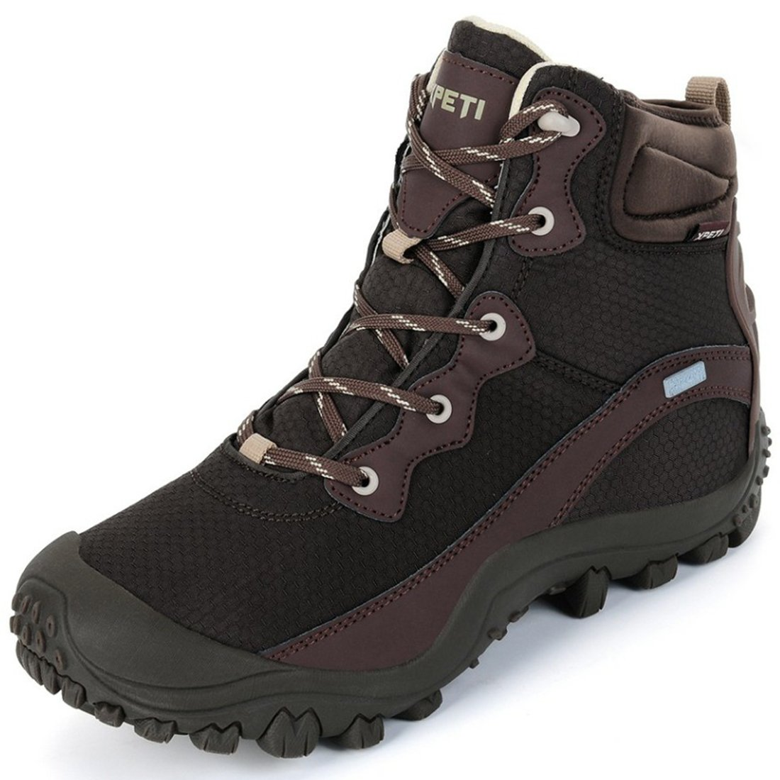 XPETI Men's Dimo Mid Waterproof Trail Hiking All-Weather Protection Boot Coffee 8 Hill Walking Fashionable Stylish Shoes