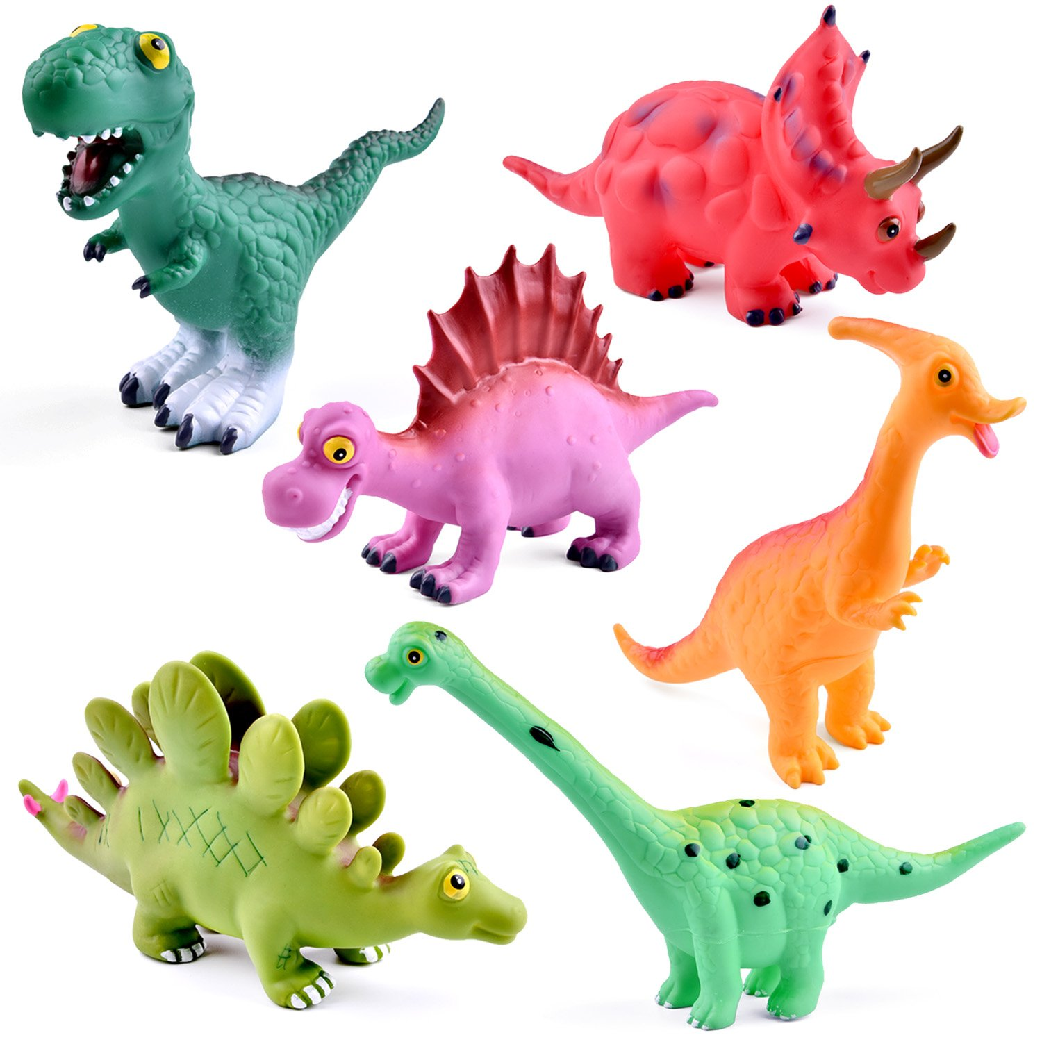 Fun Little Toys 9'' to 12'' Dinosaur Baby Bath Toys 6 Pack Dinosaur Figures Playset Water Squirt Toys Perfect as Bathtub Toys Dinosaur Party Supplies Party Favors Toddler Gifts