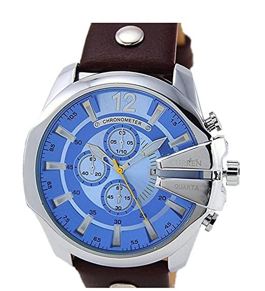 2015 CURREN Luxury Mens Watches Top Brand Leather Strap Quartz Watch Gold Watch Male Wristwatch