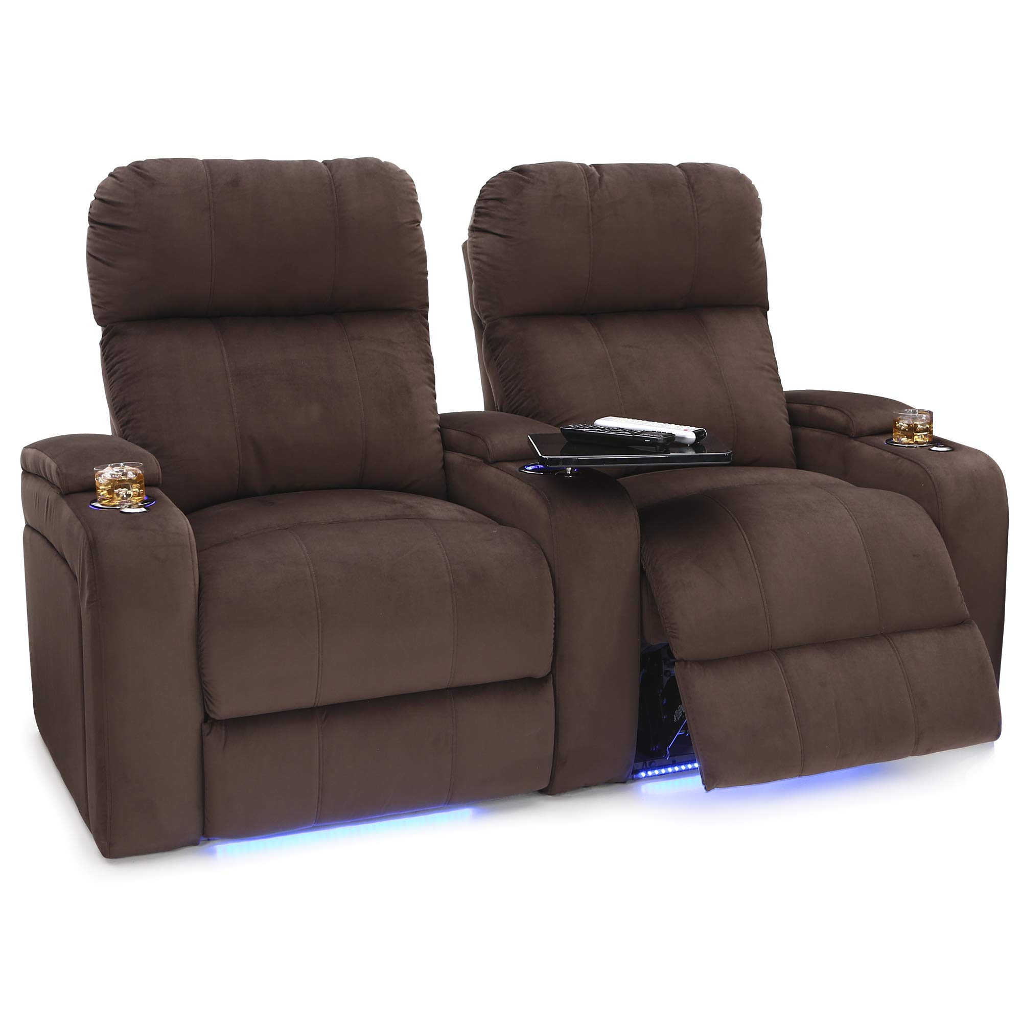Seatcraft Bonita Home Theater Seating Bella Fabric Power Recline with Adjustable Powered Headrest, in-Arm Storage, USB Charging, Swivel Tray Tables, Lighted Cup Holders and Base, Row of 2, Brown by Seatcraft