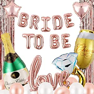 Bachelorette Party Decorations, Bridal Shower Decorations, Rose Gold Bride to be Balloons Wedding Engagement Kit Set (Champagne/Curtain)