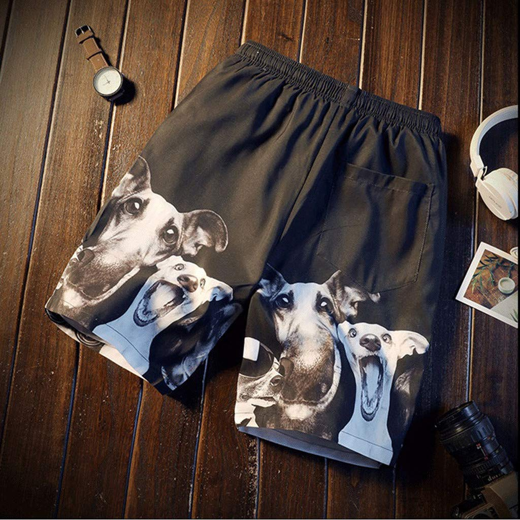 NUWFOR Fashion Men Casual 3D Star Printed Beach Casual Men Short Trouser Shorts Pants(Black,US M Waist:33.86'') by NUWFOR (Image #2)