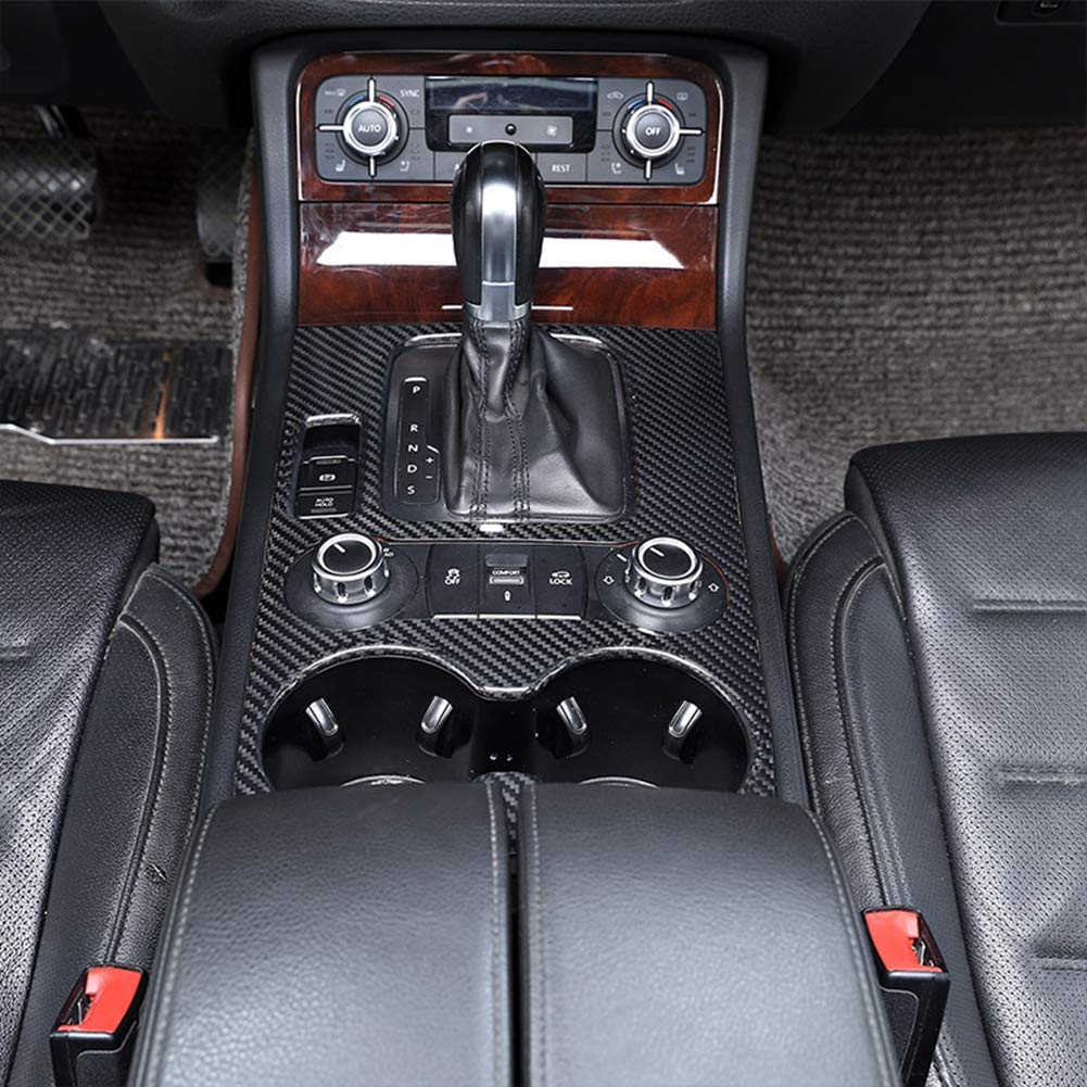 V/éritable en Fiber De Carbone Mat/ériel De Voiture Centre Console Console Panneau De D/écalage Couverture Garniture Accessoires pour LHD Touareg 2011-2018