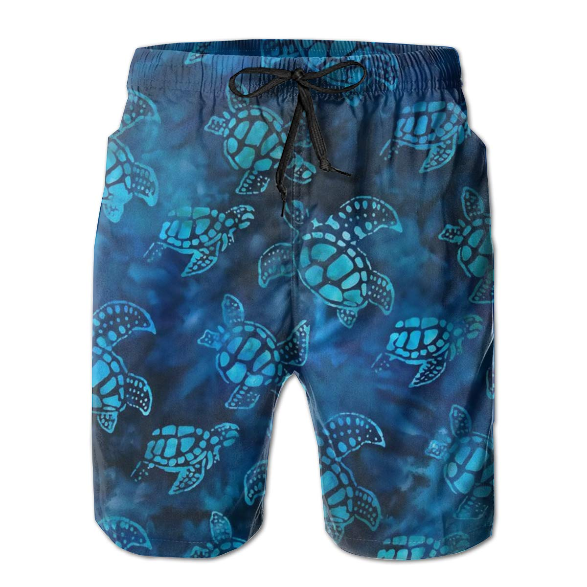 3D Printed Swimsuit with Pockets Mens 100/% Polyester Dark Blue Green Robert Turtle Tie Dye Batik Beachwear