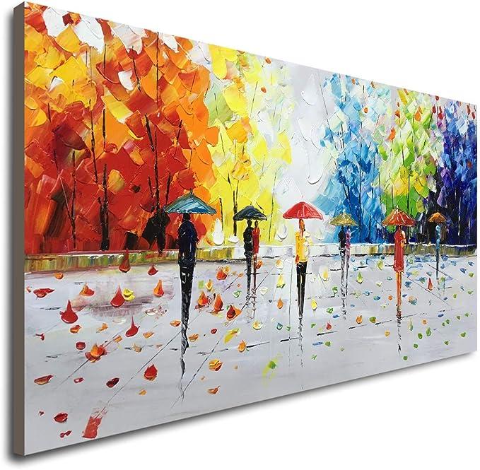 100 Pintado A Mano Paisaje Abstracto Arte De La Pared Personas Caminando Pintura Al óleo Moderna Home Kitchen