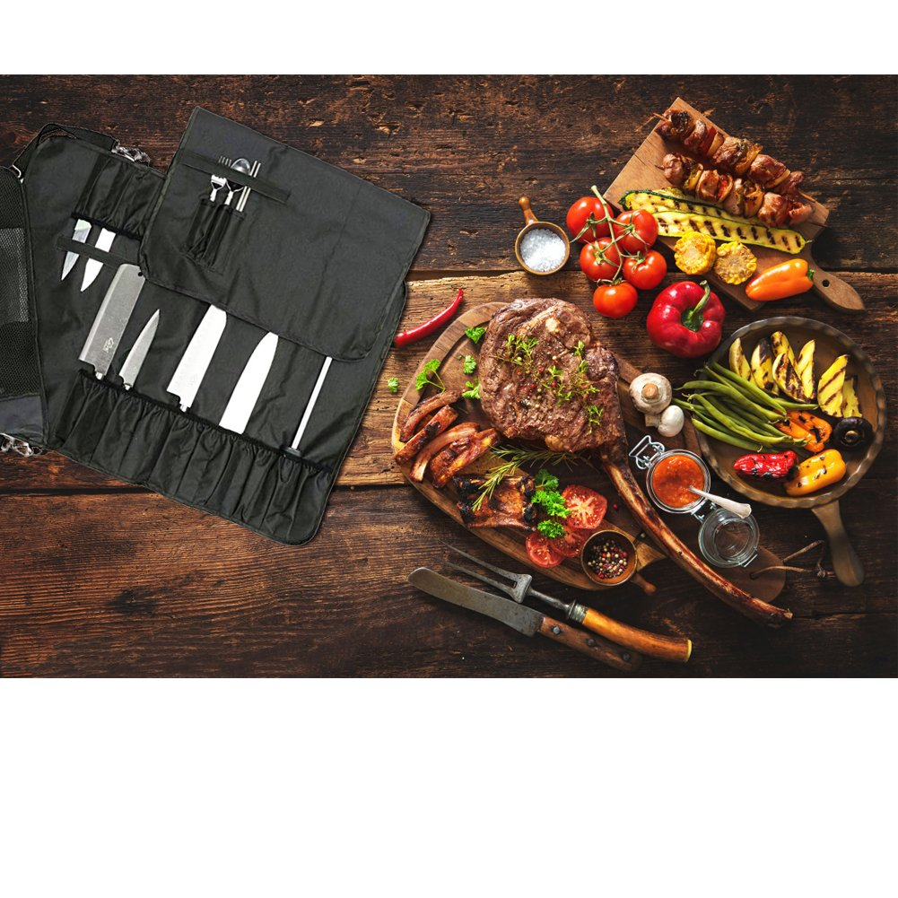 Chef's Knife Roll with 17 Slots Can Holds 13 Knives, 1 Meat Cleaver, And 3 Utensil Pockets Multi-function Knife Roll with Handle, Shoulder Strap & Zippered Mesh Pocket Holder HGJ60 by Hersent (Image #6)