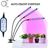 [Auto Turn ON&OFF Every Day] ELIVERN 36W LED Plant Grow Lights, IR & UV grow lights for indoor plants,8 Dimmable Levels,4/8/12H Memory Timing, Adjustable Gooseneck for Greenhouse Hydroponics Gardening