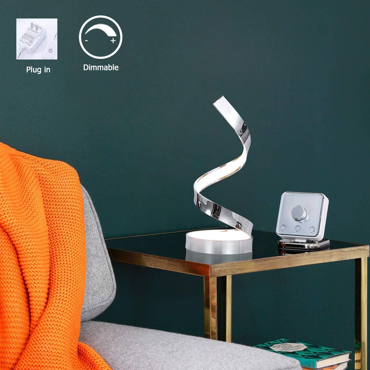 Modern LED Table Lamp Spiral Ring Dimmable Desk Lamp Plug-in Table Light Chrome Finished Warm White 3000K Desk Light for Bedroom Office Living Room, by HL