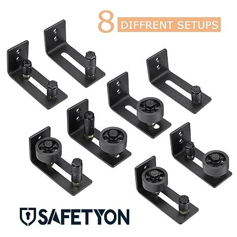 SAFEPRINT Tyon Puerta Corredera ruedas Guía de suelo negro, – Herraje para puerta hardware Sistema