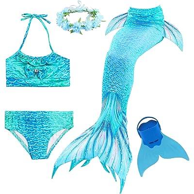 Romance Zone Cola de Sirena para Natación 5pcs Traje de Baño Mermaid Bikini Establece Disfraz de Sirena para Niña Princesa Cosplay Conjuntos con Diadema de Flores y Monofín